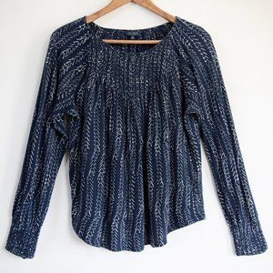 Lucky Brand Blue/White Herringbone Print Boho Top